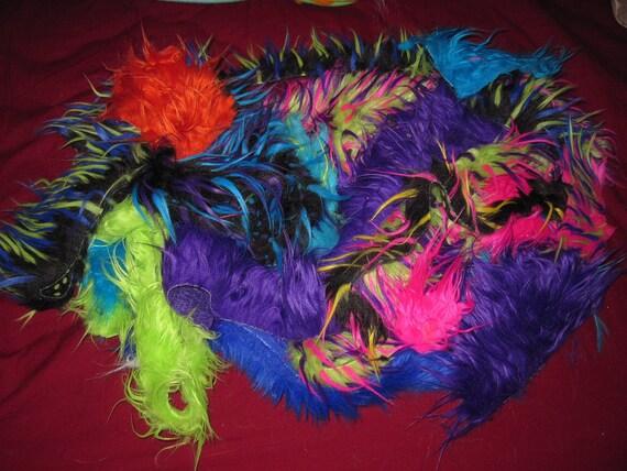 Monster Fur Scraps: rainbow, 3tone, long pile, glitter, natural colors