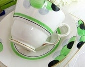 Art Deco Trio, Palissy Apple Green, Grey and Black Polkadot Balloons China Cup Saucer and Teaplate 1937