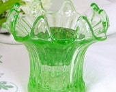 Art Deco Glass, Sowerby Gateshead Green Ribbed Glass Lily Vase & Glass Flower Frog 1930s