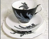Mid Century Ferns Trio, Retro Royal Albert 'Night & Day' Black White Monochrome Silhouette Bone China Cup, Saucer, Teaplate Trio Set 1960s