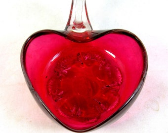 REDUCED Cranberry Glass Heart Salt, Antique Victorian Stevens & Williams Romantic Heart-Shaped Cranberry Uranium Glass Salt, 1880, Chippy