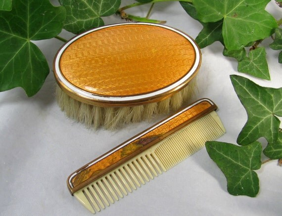 Art Deco Guilloche Enamel Brush & Comb Set, Flapper Era Miniature Shabby Chic Child's Orange Enamel on Copper Hair Brush and Comb 1920s
