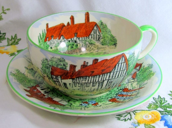 Olde England Cup Saucer, Crown Devon Fielding Art Deco Era Large Breakfast Tea Cup & Saucer Thatched Shakespearean Houses 1930s