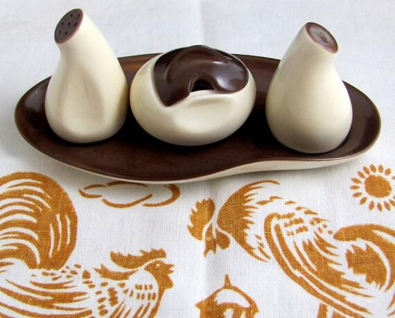 MidMod Carltonware Cruet Set, Mid Century Modern Carlton Ware Windswept Brown & Cream Biomorphic Salt Pepper Mustard on Tray 1960s