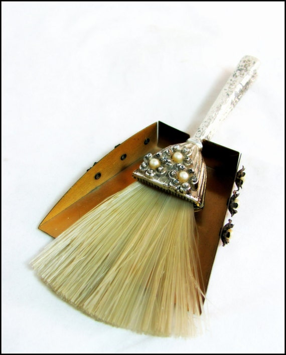 Art Deco Tablebrush, Vintage Jewelled Plated Small Metal Tray & Matching Tablebrush Crumb Brush 1940s