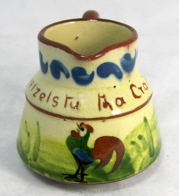 Antique Longpark Torquay Terracotta Mottoware Rooster Creamer Cream Jug 1920s
