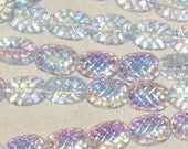 RESERVED lilac rainbow PINEAPPLE oval Czech glass BEADS vintage shape 9mm