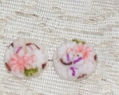 VIntage Glass Cabochon. 1940s chrysanthemum JAPAN Antique button top 13mm (1)