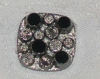 Vintage glass Cabochon. GERMAN 1940s Antique black silver CUT glass 18mm (1)