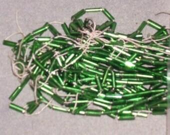 Antique glass  BUGLE beads Victorian green 5mm tubes Czechoslovakian (20)