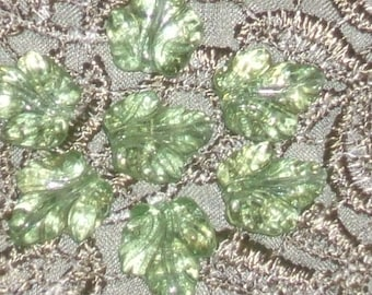 12 maple leaf Czech glass BEADS 15x13 vintage peridot green