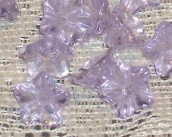 FLOWER cap LILAC 12mm Vintage Czech glass Beads FAIRY Haskell