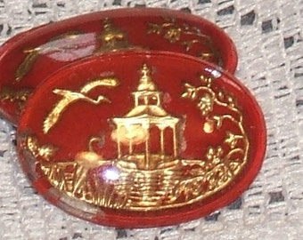 Vintage Glass cabochon. RED gold oriental scene intaglio GERMAN 25x18 (1)