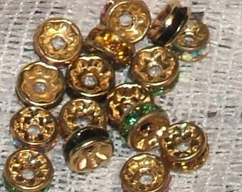 RHINESTONE RONDELLS mix crystal gold plate beads 6mm