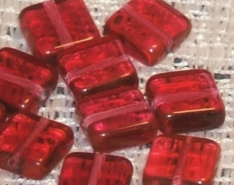 TILE squares old ROSE pink cut glass 10mm CZECH Glass (12)