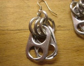 All Aluminum Silver Toned Big Ring Pop Tab Earrings - Donation made to Ronald McDonald House with your purchase