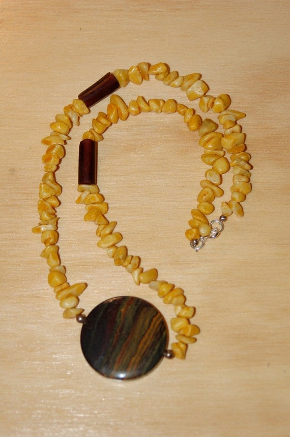 Yellow Jasper Nugget Necklace