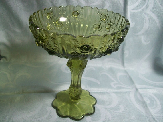 """Fenton Green """"Cabbage Rose"""" Compote"""