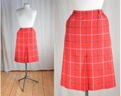 English Red // Vintage Burberrys Wool Plaid Pencil Skirt
