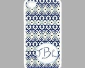 Blue & Ivory African Inspired Personalized IPhone 4 / 4s Case/Cover