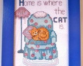 Home is Where the Cat Is - Framed Cross Stitch (5x7 in.)