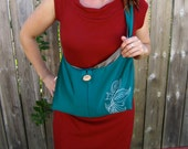 SALE 25% off Elemental Spring bag in rich ocean green, warm grey, with silkscreened henna bird-butterfly