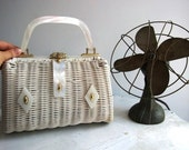 Reserved Beautiful White Lucite Basket Purse
