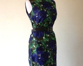 Reserved Vintage 1950s Blue and Green Floral Modern atomic Print Sheath Dress