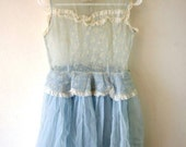 Reserved Vintage Light Blue 1950s Chiffon and Lace Party Dress