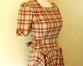 Vintage 1940s Pale Blue and Brown Plaid Dress