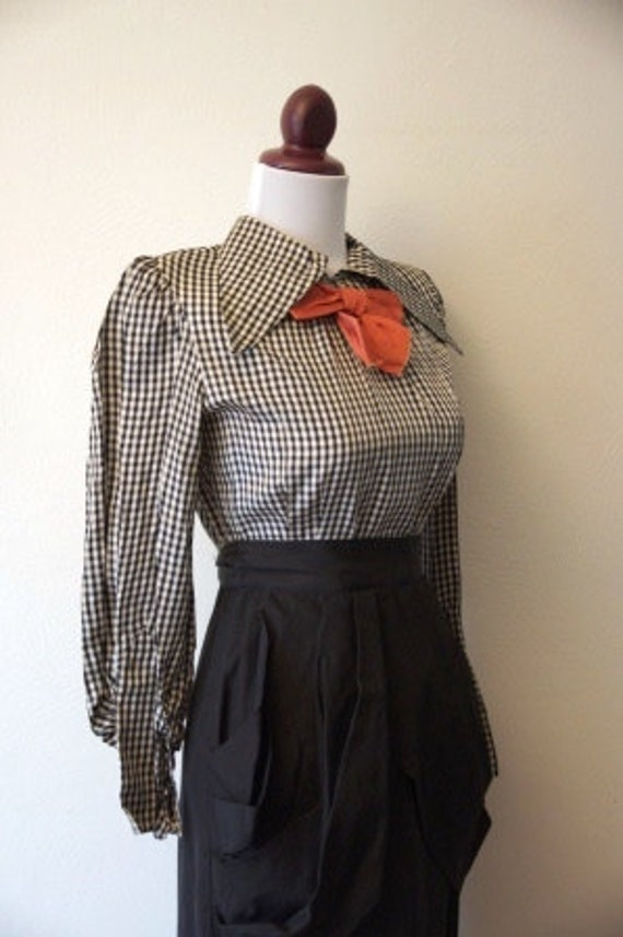 """Reserved Vintage 1930s Black and White Check Dress """"Check Mate"""""""