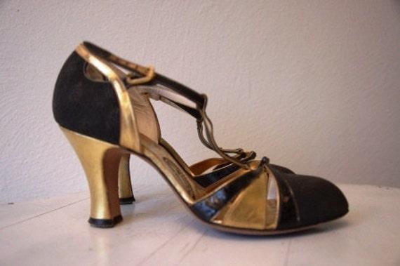 "Reserved Vintage 1930s Heels ""Good as Gold"""