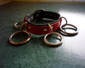 Early 90's Vintage Black and Red Leather BONDAGE PUNK WRISTBAND with Buckle Closure