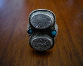Antique Sterling Silver and Hemimorphite Ring Inscribed with Arabic