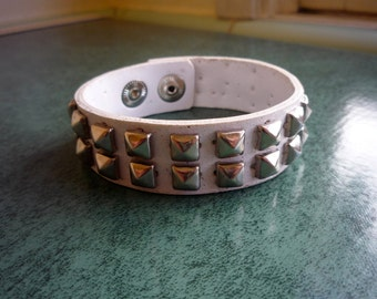 Vintage Early '90s White Leather BONDAGE Punk STUDDED WRISTBAND with Snap Closure