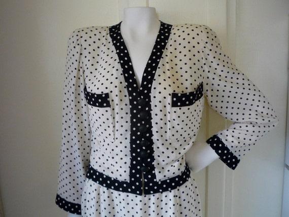 Vintage Early '90s ISABELLE ALLARD PARIS Silk Polka Dot Dress Suit