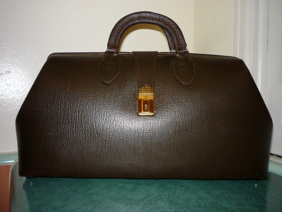 50's Vintage SCHELL Brown Leather Authentic DOCTOR'S MEDICAL Bag Made in the usa
