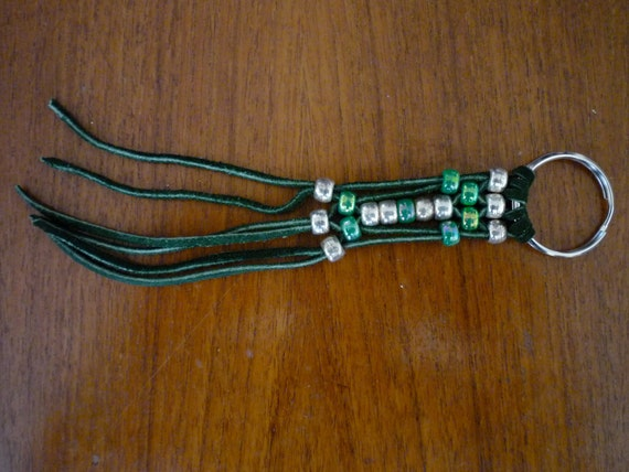 Vintage '70s SOUTHWESTERN Style Green LEATHER TASSEL Keychain with Silver, and Green Beads