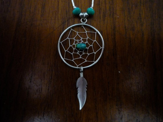 Vintage Early '90s Southwestern Native American Turquoise and Sterling Silver Necklace w/ Dream Catcher Pendant