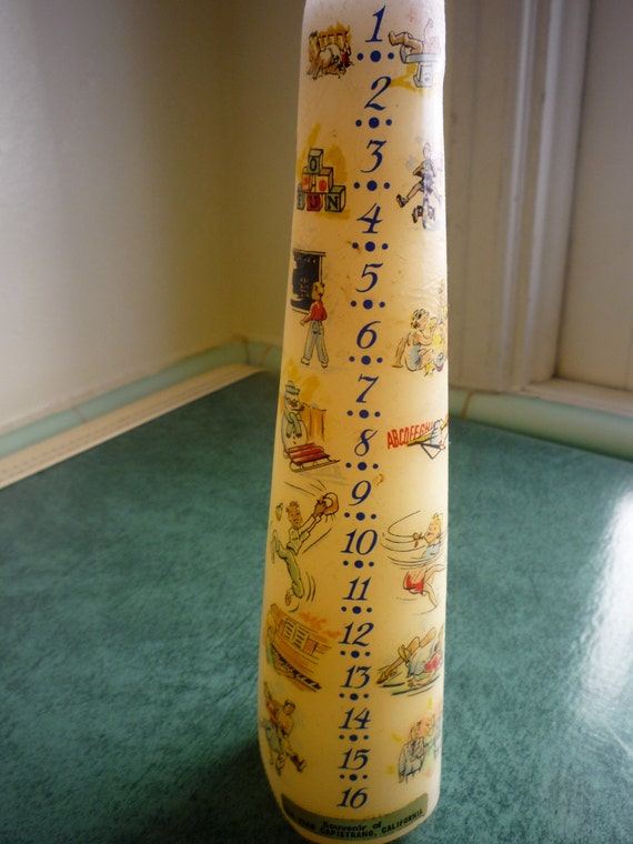 Vintage 1950s Kitsch Birthday Candle With Illustrations