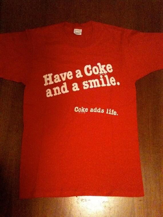 70's Vintage Red Coca Cola SCREEN STARS Size Medium tshirt Deadstock