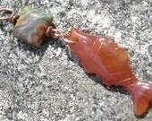 Carnelian Fish Pendant Charm