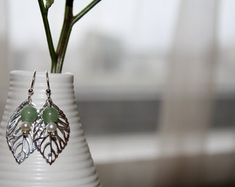 Sterling Silver Leaf Earring with Pearl and Jade
