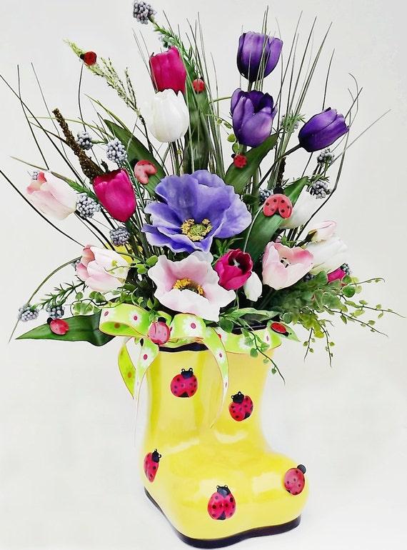 Table Arrangement Silk Flower Ladybug Floral Design