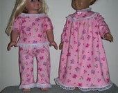 """Doll Clothes Light Pink Nightgown OR Pajamas also fits similiar 18"""" Dolls American Handmade"""