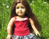 American Girl Doll Clothes Red Lace Tank w/ Silver And Black Plaid Ruffle Skirt