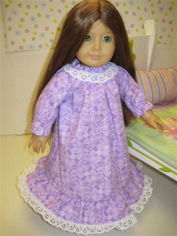 American Girl Doll Clothes Nightgown Dainty Lavender With Delicate Lace Ruffle
