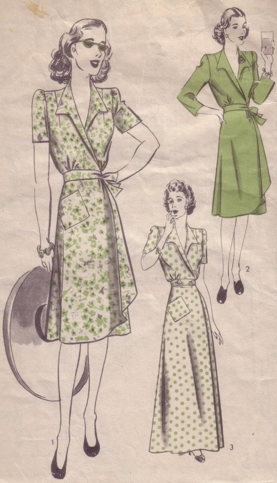 40s Vintage Pattern - Hollywood Wrap Dress - 32B - Unused