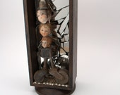 Sculpture Found Objects Shadow Box- Jostling Memories