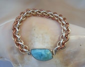 Bracelet: Larimar Box Clasp on a Tri-metal Chainmaille - Handmade